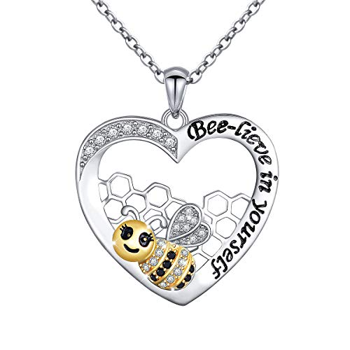 S925 Sterling Silver Engraved Belived in Yourself Bee in Heart Pendant Necklace for Women Girls, Rolo Chain 18