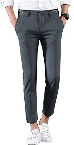 (Plaid&Plain Men's Casual Stretch Flat Front Dress Pants Slim-Tapered Suit Pants 661Grey 33)