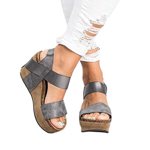 Seaintheson Womens Wedges Open Toe Shoes Ladies Casual Breathable Beach Sandals Rome Elastic Band Single Shoe Gray