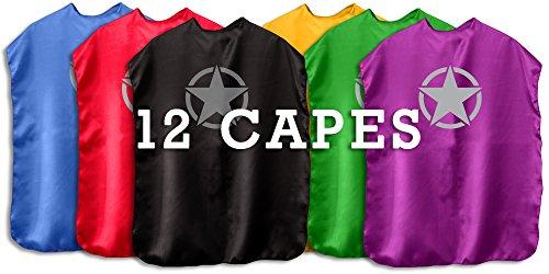 Superfly Kids Superhero Cape With Printed Emblem Set Of 12 (6 Stars 6 Bolts)