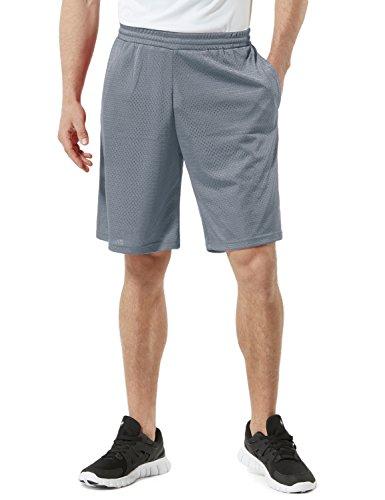 Tesla TM-MBS02-STL_Large Men's Cool Mesh Basketball Shorts Smooth HyperDri With Pockets ()