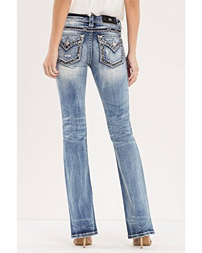 Miss Me Junior's Mid-Rise Stretch Boot Cut Jeans With Faux Flap Pockets, Medium Blue, 26