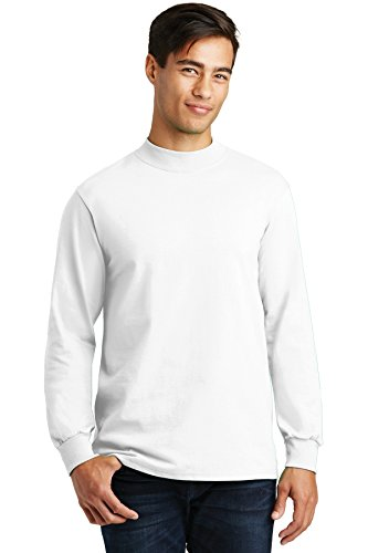 Heavyweight Mock Turtleneck - Port & Company Men's Mock Turtleneck - Large - White