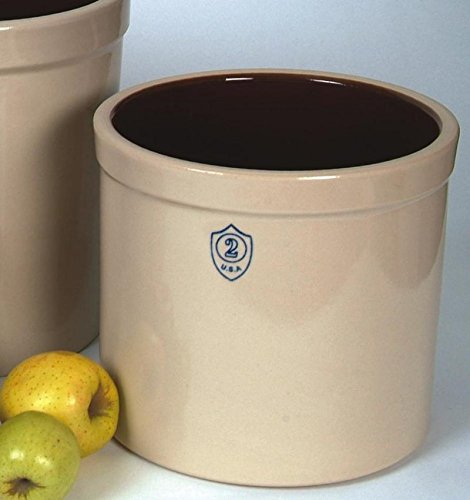 Ohio Stoneware 02436 2 gallon Bristol Crock, Small, White (Pickling Ceramic Crock)