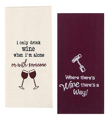 2 Wine Themed Decorative Cotton Kitchen Towel Set with Funny Sayings | Embroidered Waffle Towels for Dish and Hand Drying | by Kay Dee Designs - Hand Embroidered Dish Towel