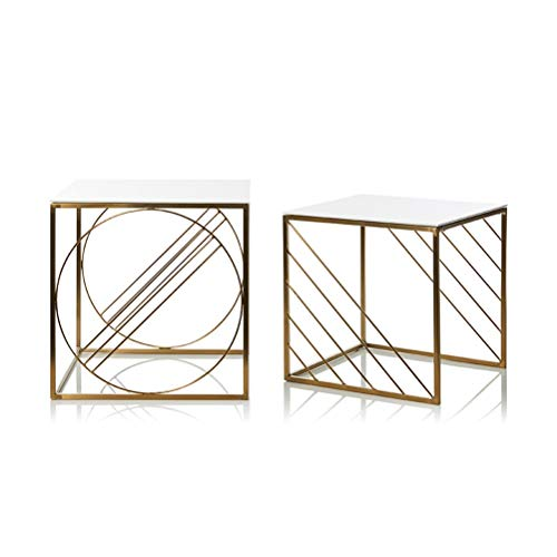 (End Tables Creative Square Small Coffee Table Simple Wrought Iron Bedside Shelf No Assembly Required 0702 (Size : Set of 2))