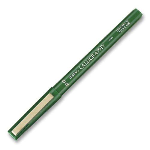 (Marvy Calligraphy Marker - Fine Pen Point Type - 2 mm Pen Point Size - Green Ink - Green Barrel - 1)