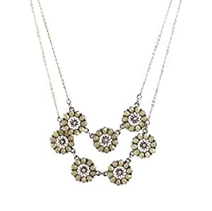 Women Necklace Retro Fashion Ethnic Colorful Flower Pendant Gem Duo Chain Necklace