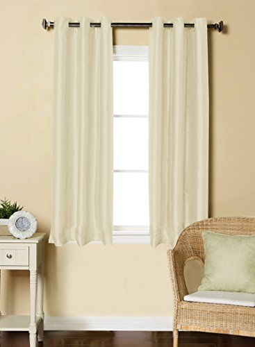 LUSHOMES Off-White Dupion Silk Curtain with 6 Plastic Eyelets (Pack of 2 pcs) for Windows