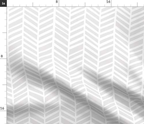Grey Herringbone Arrow Fabric - Geometric Chevron Cartoon Zigzag Neutral Texture Imperfect Angles Modern Mod Print on Fabric by the Yard - Velvet for Upholstery Home Decor Bottomweight Apparel
