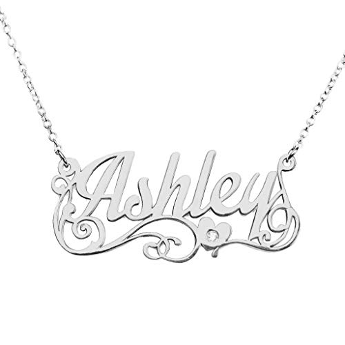 TSD 10K White Gold Personalized Name Necklace with Diamond Accent by JEWLR