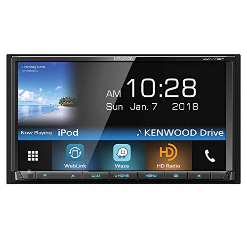 """Kenwood DDX775BH In-Dash 2-DIN 6.95"""" Touchscreen DVD Receiver with Spotify, Waze, YouTube and Pandora via Weblink from Kenwood"""
