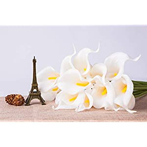 Foraineam Pack of 30 Calla Lily Artificial Flowers Bridal Wedding Bouquets Home Party Floral Decor Real Touch Fake Flowers (White) 4