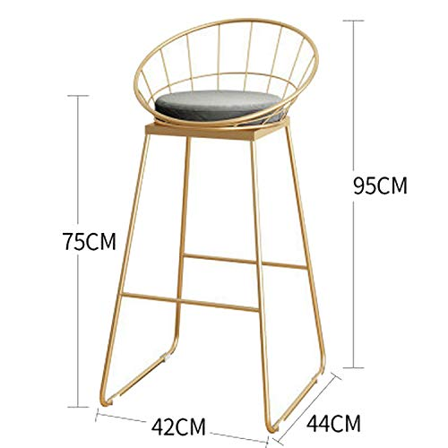 (Simple Bar Stool Wrought Iron Bar Chair Gold High Stool Modern Dining Chair Iron Leisure Chair Nordic,A-Gold-75Cm)
