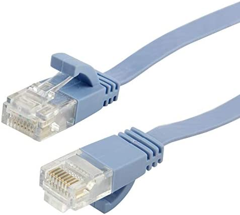 Blue Length JINYANG CAT6 Ultra-Thin Flat Ethernet Network LAN Cable 50m