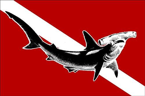 (American Vinyl Hammerhead Shark on a Scuba Dive Flag Sticker (Hammer Head Decal))