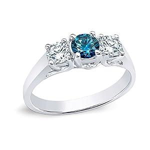 14k White Gold Round-cut Three-Stone Blue Diamond Engagement Ring (1/2 cttw, Blue, H-I, I1-I2)