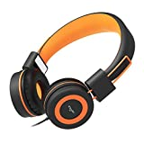 Elecder i37 Kids Headphones Children Girls Boys Teens Adults Foldable Adjustable On Ear Headsets 3.5mm Jack Compatible iPad Cellphones Computer MP3/4 Kindle Airplane School Tablet Orange/Black