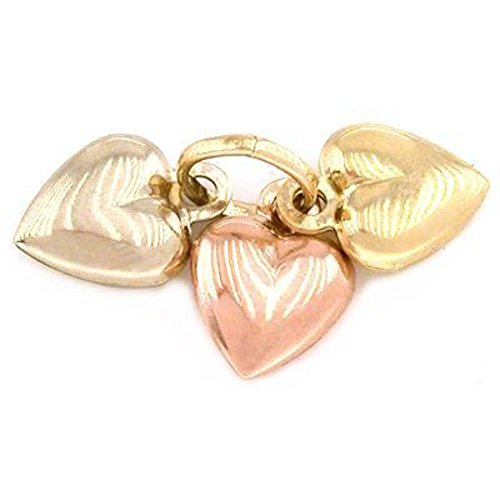 3 Puffed Heart Charms 14K Gold Tri-Color Jewelry ()
