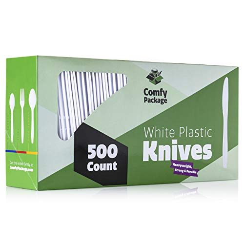 ([500 Pack] Extra Heavyweight Disposable White Plastic Knives)