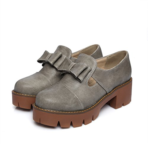 Womens Grey Heel Loafers Chunky Bows Shoes Shine Platform Show z1fqw45Ac