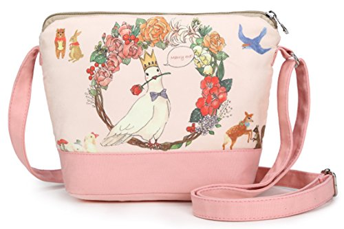 5e08b3eec Crest Design Cute Canvas Crossbody Bag Shoulder Bag Purse for Girl and  teenage (Pink Pigeon) - Buy Online in Oman. | crest design Products in Oman  - See ...