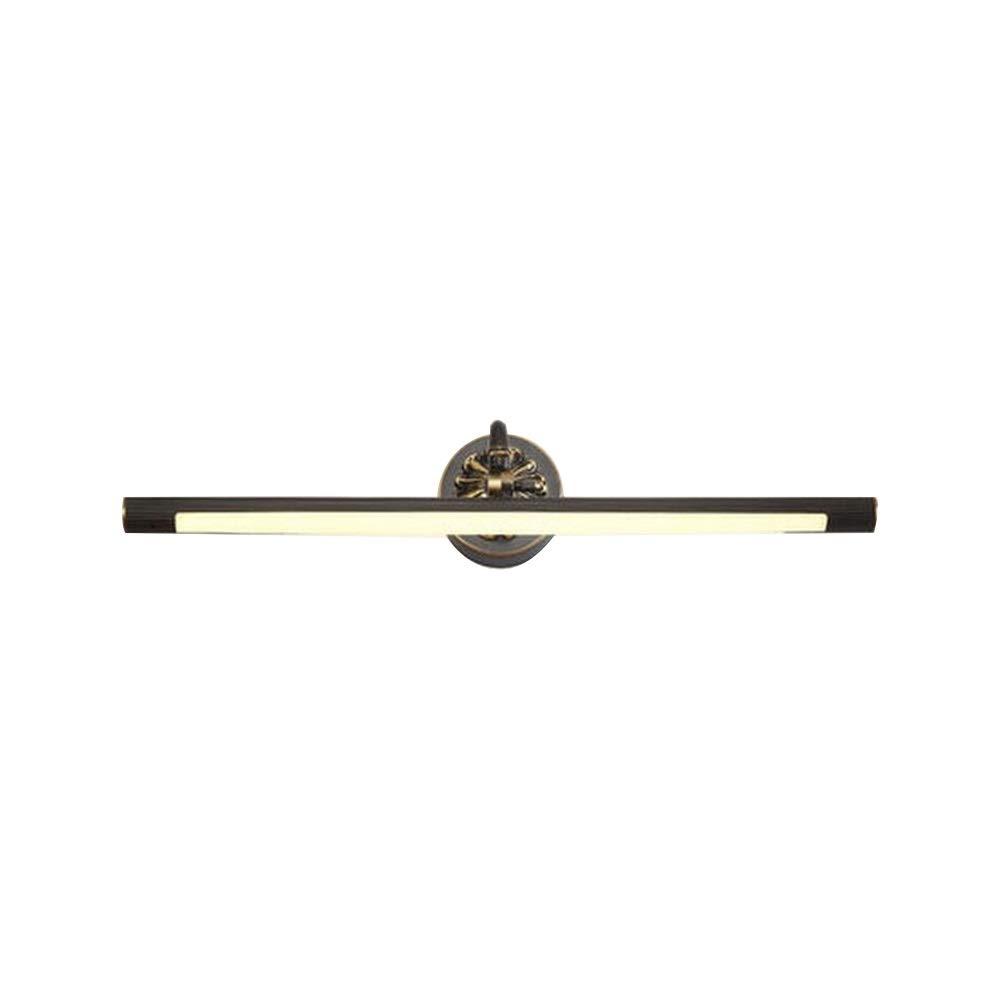 フル銅鏡フロントライト、レトロバスルームミラーライト防水LED化粧銅ランプ (色 : ブラック, サイズ さいず : 15W75cm) 15W75cm ブラック B07Q26YTCR