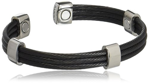 bc242db9c007 Sabona 36570 Trio Cable Black Satin Stainless Magnetic Bracelet