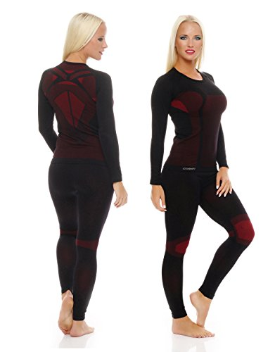 1x Set Skiunterwäsche Funktionsunterwäsche Damen Thermo-Unterhose und Thermounterhemd innen angeraut Langarm Gr. S/M schwarz/rot ...