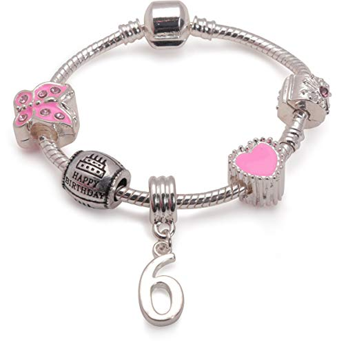 Liberty Charms Children's Pink Happy 6th Birthday Silver Plated Charm Bracelet for 6 Year Old Girl (6.3in/16cm)