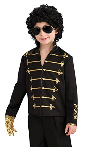 Michael Jackson Child's Value Military Jacket Costume Accessory, Small, Black