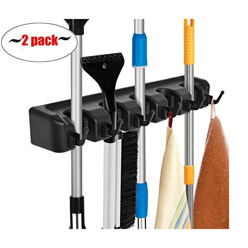 Auwey 2pack Mop Broom Holder Wall Mount with Hook Gripper Slot, Garden Storage Rack Mop Broom Handle Kitchen Storage Garage Garden Tools Commercial Organizer (5 Position 6 Hooks)