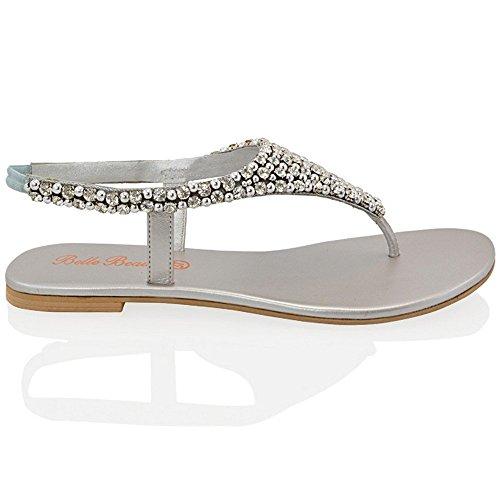 Sandalia de Dedo Plana con Diamantes y Perlas para Vacaciones Fiesta o Vestir Tallas ES 36-41 Plata