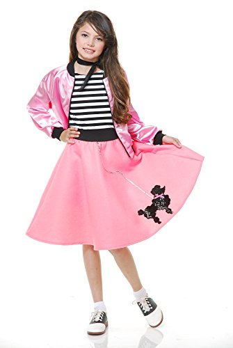 Charades Child's Costume Poodle Skirt with Elastic Waistband, Bubble Gum Pink, Large - The Elastic Waistband Costume