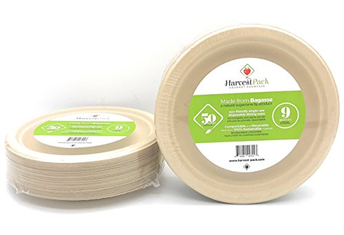 [50 COUNT] 9 in Round Disposable Plates - Natural Sugarcane Bagasse Bamboo Fibers Sturdy Nine Inch Compostable Eco Friendly Environmental Paper Plate Alternative 100% by-product Tree Plastic Wax Free
