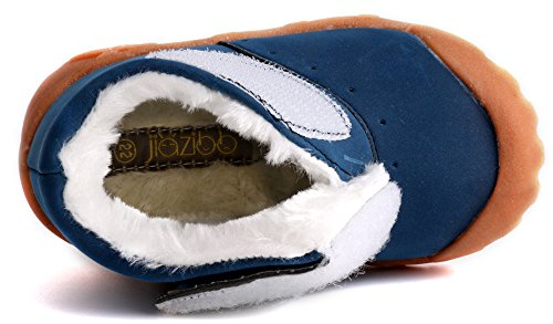 Pictures of LONSOEN Toddler Winter Snow Boots for Boy Girl Outdoor Waterproof Booties with Fur Lined, Blue, BAY003 CN22 4