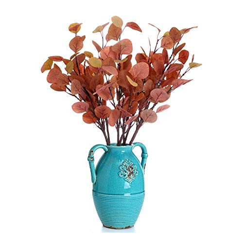 Lucky Bird Artificial Eucalyptus Greenery Stems 4 Pcs Silk Leaf Round Floral Faux Greenery Silver Dollar Eucalyptus Bushes Plants for Wedding Bouquet Party Home Craft D¨¦cor(Autumn red)