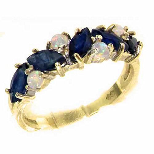 14k Yellow Gold Natural Sapphire & Opal Womens Eternity Ring - Sizes 4 to 12 Available (Gold Sapphire Natural Yellow 14k)