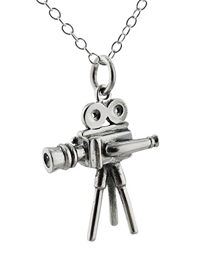 - Sterling Silver 3D 1930's Film Movie Camera Charm Pendant Necklace, 18 Inch Chain