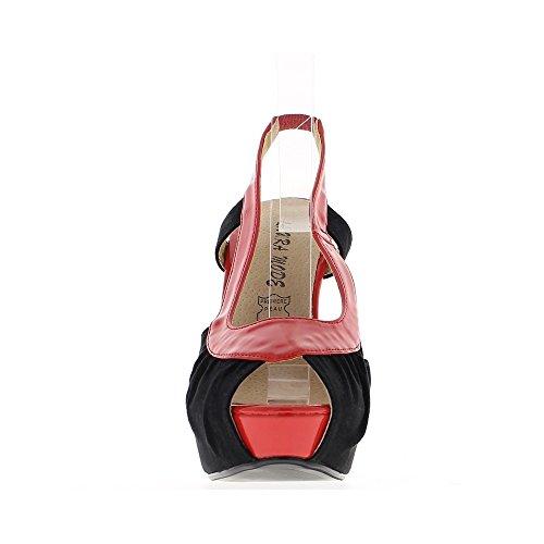 Sandales femme bicolores noires et rouges à talons de 14,5cm et plateforme