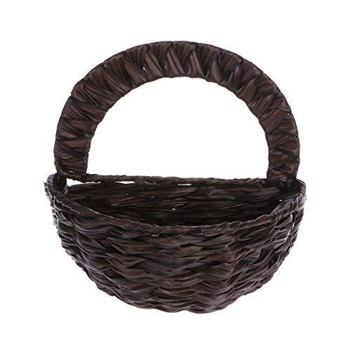 (keaiduoa Natural Flower Basket Wall Hanging Plant Pot Holder Planter Rattan Vase Decor Natural Flower Basket Wall Hanging Plant Pot Holder Planter Rattan Vase Decor (02))