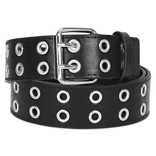 Double Grommet PU Leather Belt for Women Men Punk Rock Metal Jeans Belts 1 1/2 inch by SANSTHS, Black L (Stud Belt Double)