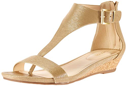 (Kenneth Cole REACTION Women's Great Gal T-Strap Low Wedge Sandal, Gold, 9.5 M US)