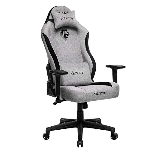 Musso Fabric Gaming Chair with Wide Seat,Heavy Duty Racing Chair, Adults Adjustable Video Game Chair, Large Size PU…