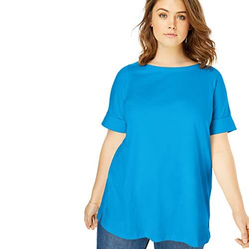 Woman Within Women's Plus Size Perfect Boatneck Cuffed-Sleeve Tee - Blue Splash, 3X