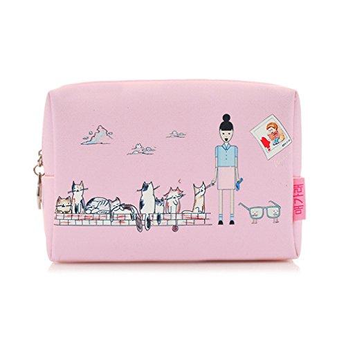 Micom Korea Cute Painting Zipper Cosmetic Bags Makeup Bag for Women,girls (Cat 2)