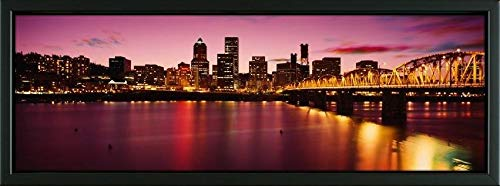 (Easy Art Prints Panoramic Images's 'Skyscrapers lit up at Sunset, Willamette River, Portland, Oregon, USA' Premium Framed Canvas Art - 24