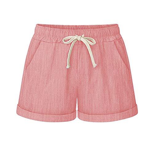 (Yknktstc Womens Plus Size Elastic Waist Cotton Linen Casual Beach Shorts with Pockets 4X-Large Pink)