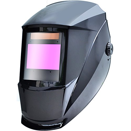 Antra AH7-X80-0001 Digital Controlled Solar Powered Auto Darkening Welding Helmet Wide Shade 4/5-9/9-13 with Grinding Feature Extra Lens CoversGreat for TIG, MIG, MMA, Plasma