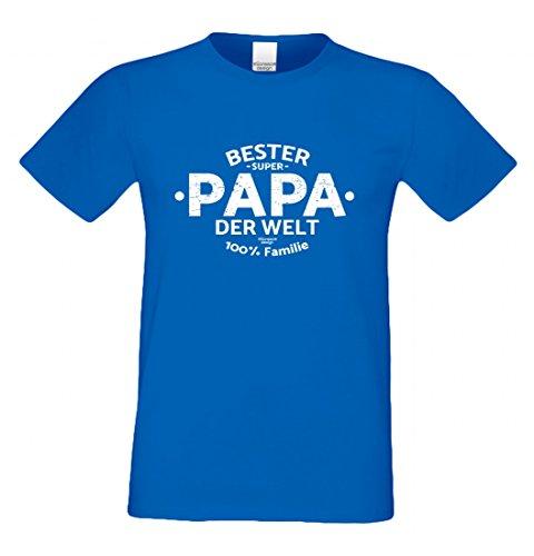 T-Shirt als Geschenk für den Vater - Bester Papa der Welt - Funshirt mit Humor zum Vatertag oder einfach nur so, Größe 4XL Farbe 06-Royalblau